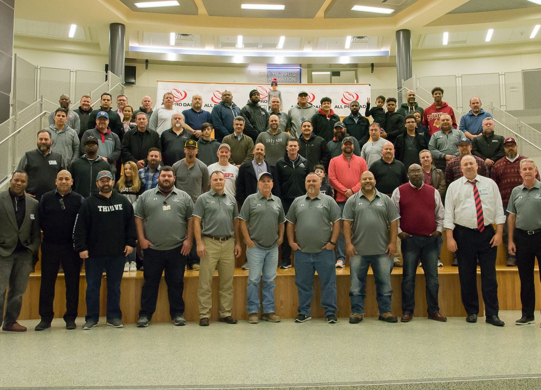photo of more than 60 dads across the district to attend the inaugural All Pro Dad kick off meeting